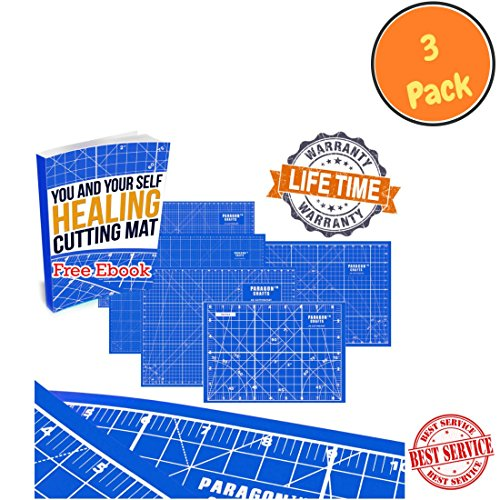 """Double Sided Self Healing Cutting Mat Board for Your Rotary Cutter, Sewing, Quilting & Kids' Crafts – Durable Design with Handy Grids & Angles for Maximum Accuracy - 8.5"""" x 6"""" – Blue (3 Pack)"""