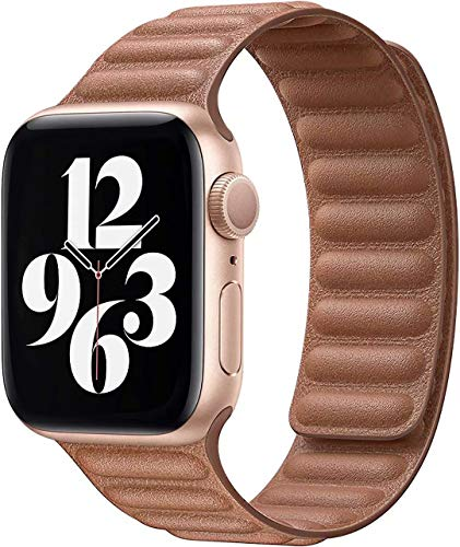 Fengyiyuda Correa Compatible con Apple Watch Correa 38mm 40mm 42mm 44mm,Correa Ajustable Correa de eslabones de Piel Fuerte magnético Compatible con iWatch Series SE/6/5/4/3/2/1(42/44mm Marrón)