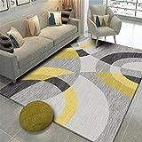 Xiakolaka Modern Abstract Geometric Triangles Grey Yellow Area Rug Soft Pastel Multi Color Squares Geometric Area Rugs Living Room 4'0''x5'3'' Non-Slip Modern Rugs