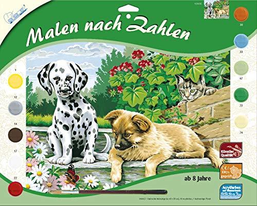 MAMMUT 109035 - Malen nach Zahlen Tiermotiv, Tierkinder im Garten, Komplettset mit bedruckter Malvorlage im A3 Format, 10 Acrylfarben und Pinsel, großes Malset für Kinder ab 8 Jahre