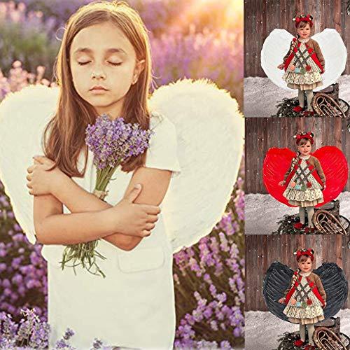 Dasongff Kinder Flügel, Federflügel Kostüm Weißer Engel Flügel Kostümparty Halloween Verkleidung Fasching