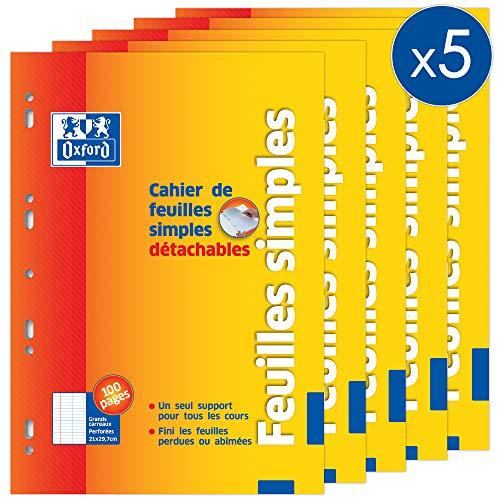 Oxford Lot de 5 Cahiers 100 Pages Feuilles Simples A4 Grands carreaux Seyès Couverture Carte Orange 100107290_PAC