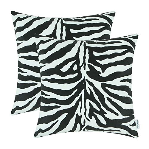 Brit Cotton Printed Cushions Covers for Sofa- 35 x 35 Cm Bedroom Decor and Home Decor -Squares Pillowcase for Couch (Zebra, 2 Pieces)