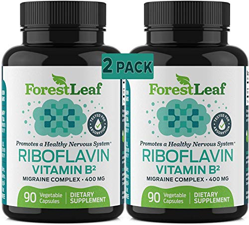 Vitamin B2 Riboflavin, 400mg - 180 Capsules - Promotes Healthier Blood, Nervous System, Energy and Metabolism – Non-GMO, Gluten Free Daily Dietary Supplement – by ForestLeaf