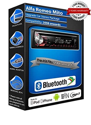 Pioneer Mito DEH-3900BT - Autoradio con USB, CD, MP3, AUX, Bluetooth