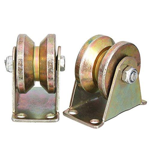 MYAMIA 2pcs 660lb 2 inch V Typ Rad Schiebetor Rolle Stahl Rad Schiene Schiene mit Halterung Rollen Maschinen Teile