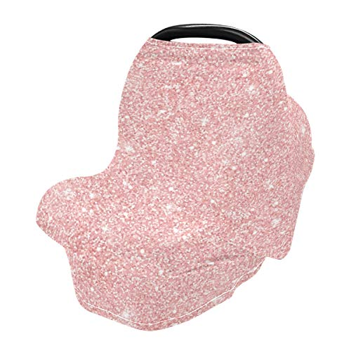 Nursing Cover Breastfeeding Scarf Rose Gold Glitter- Baby Car Seat Covers, Stroller Cover, Carseat Canopy (e)
