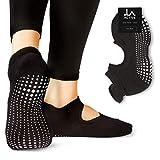 LA Active Calcetines Antideslizantes - Para Yoga Pilates Ballet Barre Mujer Hombre - Ballet (Negro, 37-40 EU)