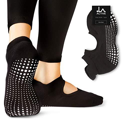 LA Active Calcetines Antideslizantes - Para Yoga Pilates Ballet Barre Mujer Hombre - Ballet (Negro, 34-36.5 EU)