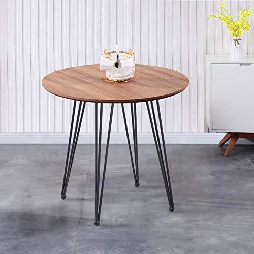 GOLDFAN Esstisch Holz Küchentisch Modern Klein Wohnzimmertisch Rund Matt Tischplatte mit Schwarz Beine für Büro Küche 80x80x75cm