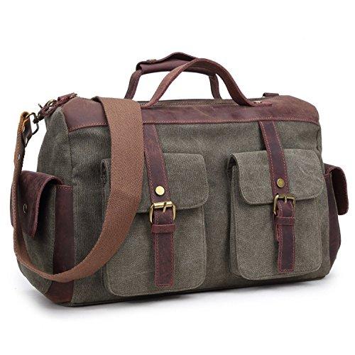 BAOSHA HB-16 Borsone da Viaggio per Sport di tela e pelle Uomo Donna Vintage Borsa Weekend Bag Borsa a tracolla di tela Casual Viaggi Tote Deposito Satchel Handbag Vagabondo Borsoni (Army Green)