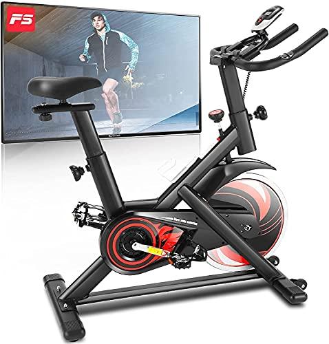 ANCHEER Cyclette da Casa, Bici da Spinning, Esercizio di Bicicletta,Volantino di Inerzia 18 kg, Display LCD, Sensore di Impuls, Collega con l'App Manubrio e Sella Regolabili, Portata 120 kg (Nero)