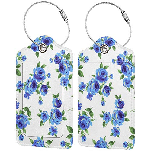 Blue Rose Bouquet Flowers Personalized Leather Luxury Suitcase Tag Set Travel Accessories Luggage Tags