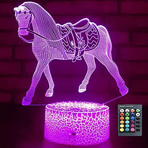 3D caballo noche luz USB interruptor táctil decoración mesa escritorio ilusión óptica Lámparas 16 colores cambiantes lámpara de mesa LED Navidad hogar amor cumpleaños niños decoración juguete regalo