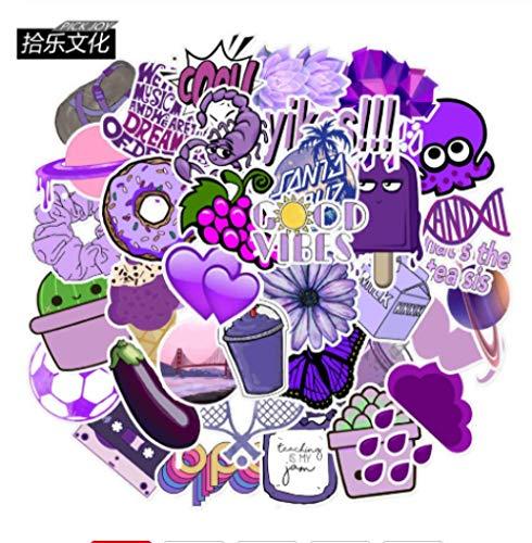 Pegatinas de dibujos animados de color morado con diseño de Amazon Explosion Edge Maleta para cuaderno personalidad Graffiti pegatinas 50