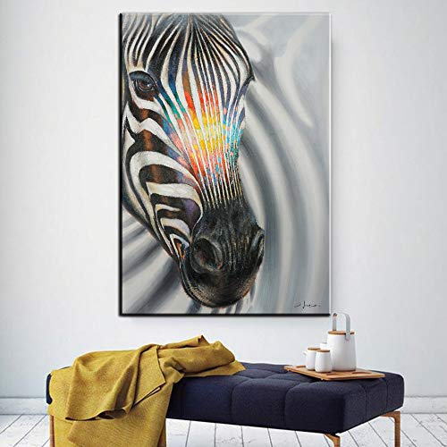SADHAF HD-printer, abstract, zwart en wit, zebrapatroon, olieverfschilderij, modern, muurkunst, dier-affiche, woonkamer, decoratie 60x80cm (pas de cadre) A4