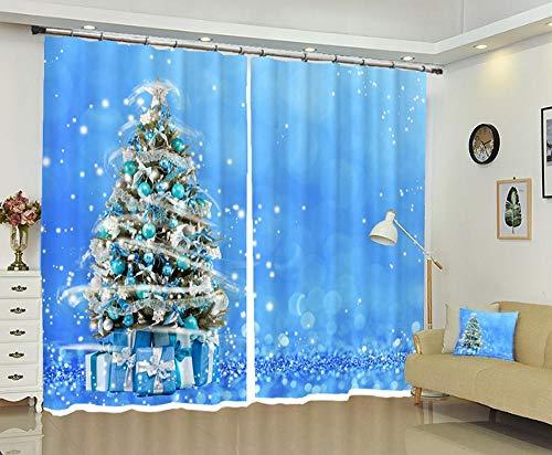 FAIEK Tenda Soggiorno Oscuranti Sipario Camera Da Letto Ridurre Rumore, Tenda Per Finestre Decorativa Moderna 110(W) X215(H) Cm 2*Panel,Albero Di Natale Blu