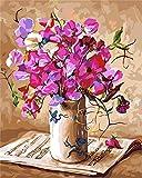 PEKSLA DIY Ölgemälde nach Zahlen Blumen in Vase Handgemalte Kits Zeichnung Leinwand Bilder Home...