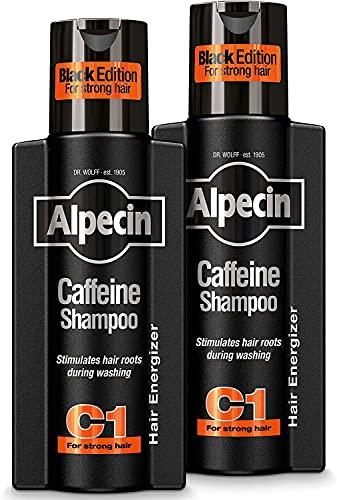 Alpecin Black Edition Champú Cafeína C1 2x 250ml | Champu anticaida hombre y con cafeina | Tratamiento para la caida del cabello | Alpecin Shampoo Anti Hair Loss Treatment Men
