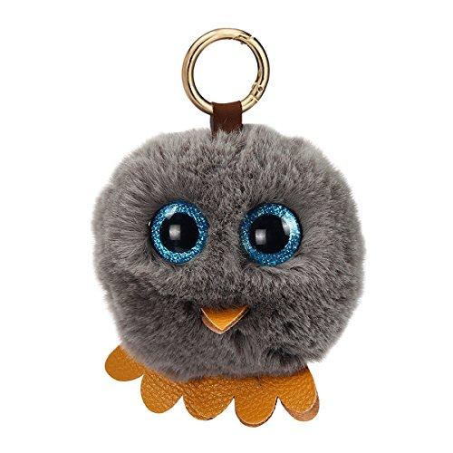 Evaliana Owl Fluffy Ball Pom Pom Faux Fur Novelty Keychain Keyring Pendant Accessory