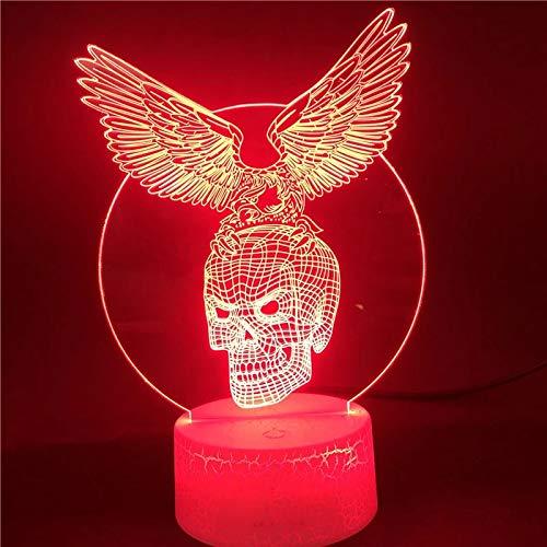 Resplandeciente simple calavera base de grietas lámpara de mesa pequeña creativa lámpara decorativa creativa luz de noche multicolor de acrílico lámpara LED lámpara de mesa multicolor