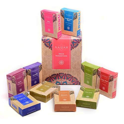 NAQSH Conos perfumados naturales perfumados de alta calidad, conos de incienso naturales, varios colores, 12 fragancias con 10 conos cada uno