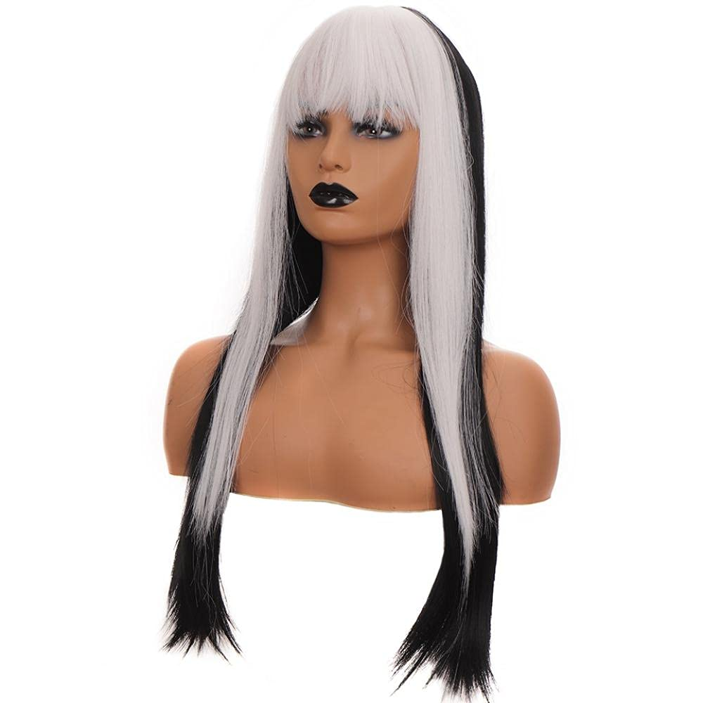 New popularity Large discharge sale Synthetic Pink Black Wig Long Hair Om Straight Cosplay Fiber