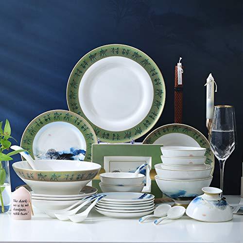Juegos De Vajillas De Porcelana, olla de sopa de porcelana de hueso y plato de carne de cuenco de cereal 46 piezas de vajilla de porcelana de estilo ligero y lujoso para regalos de boda