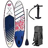 Stand Up Paddle Paddling SUP Board Damenboards Hibiskus 300x76x15cm aufblasbar Alu-Paddel Pumpe Rucksack gewebtes Drop-Stitch 115KG