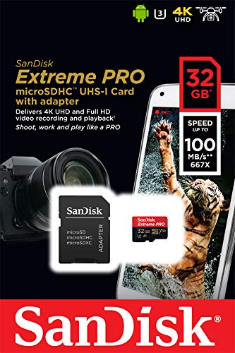 SanDisk Extreme Pro 32GB microSDHC Memory Card + SD Adapter with A1 App Performance + Rescue Pro Deluxe 100MB/s Class 10, UHS-I, U3, V30