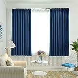 Tomameri カーテン 遮光カーテン ドレープカーテン 2枚組 1級遮光 防音 遮音 防寒 UVカット 昼夜目隠し(人影が見えない) 厚手 洗濯機で洗える 部屋/客間/リビングルームに適用 (ブルー, 幅100*長さ135cm)