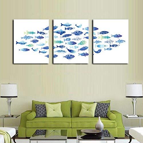 Quadro su Tela Calligrafia Triplo Pesce di Mare Poster e Stampe Immagini su pareti Immagini per Soggiorno Decorazione Domestica Senza Cornice