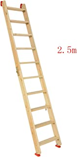 CAIJUN Ladder Multifunction Household Thicken Solid Wood Foldable Portable Safety Herringbone Ladder, 8 Sizes Dual-use (Color : Wood Color, Size : Full Length 2.5m)