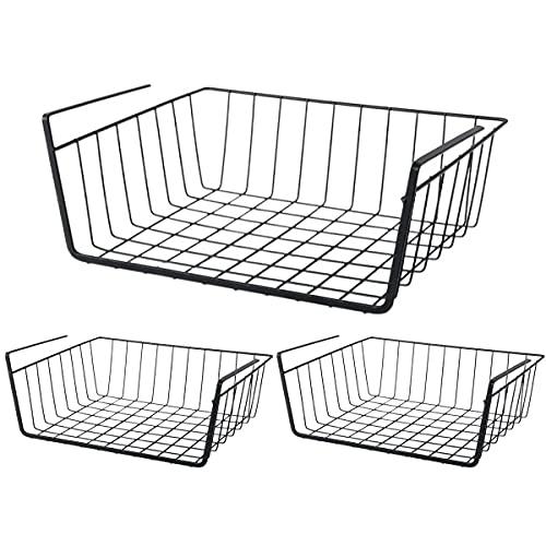 3er Regaleinhängekorb,Schrankkörbe Hängekorb, Metall Aufbewahrungskorb für Küche und Kleiderschrank,Schwarz,30 x 25 x 12 cm