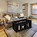 Lift Top Coffee Table for Reception Room with Hidden Compartment and Storage Shelves Lift Tabletop Furniture
