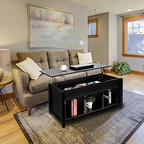 Lift Top Coffee Table for Reception Room with Hidden Compartment and Storage Shelves Lift Tabletop...