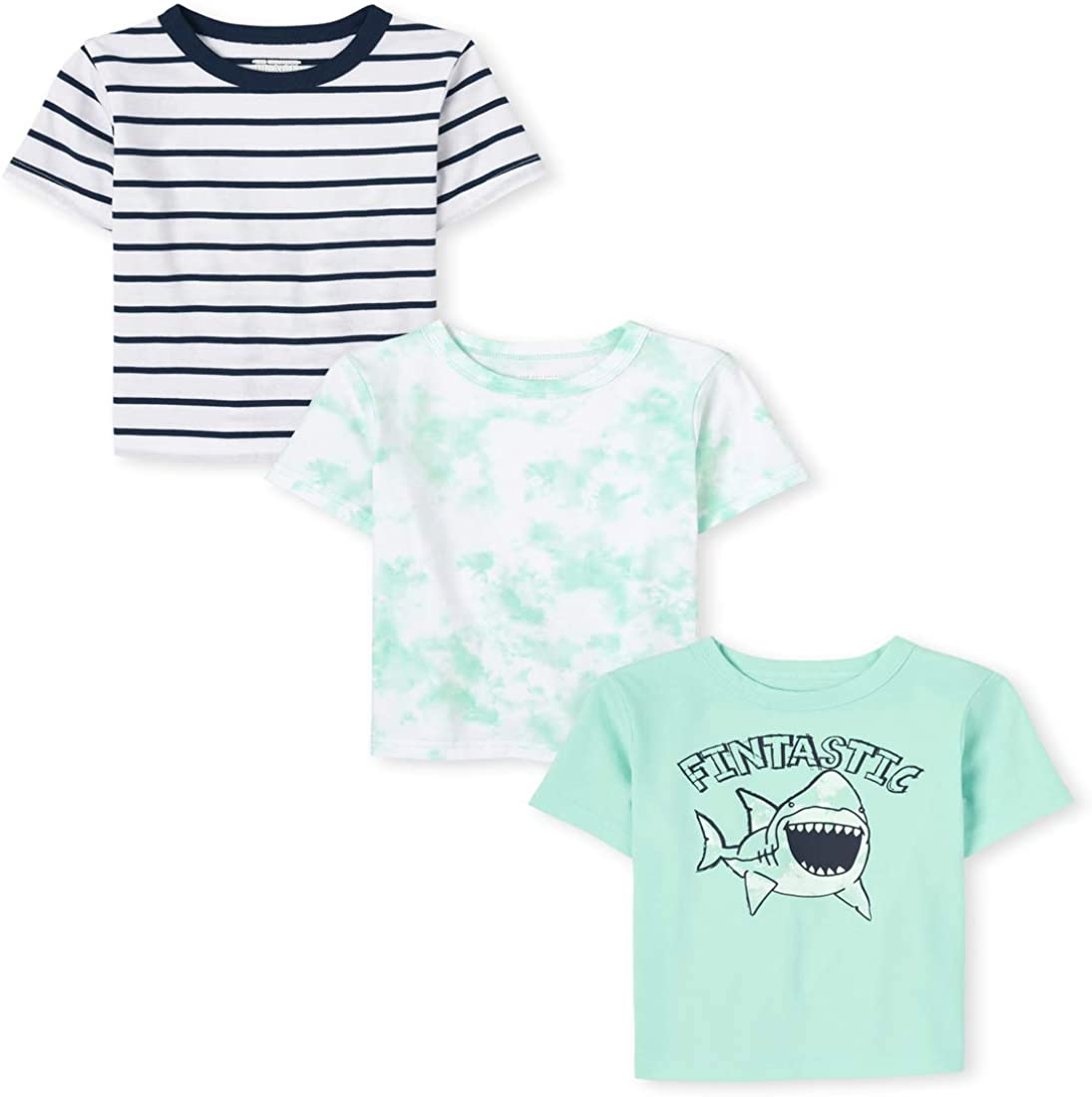 The Children's Place Baby Boys' Shark Print Shirts, Pack of Three
