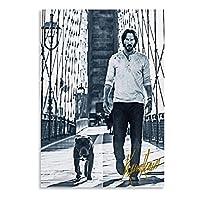 ジョンウェイクアンドザドッグレトロポスターファインキャンバスペインティングアートポスターとプリントウォールアート画像モダンファミリースタディオフィスデコレーション-50x70cmx1pcs-フレームなし