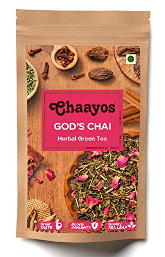 Chaayos God's Chai – Herbal Kangra Green Tea | God's Chai – Herbal Kangra Tea | Whole Leaf Loose Tea | Immunity Boosting – 100g [50 Cups] | Antioxidant Green Tea | Organic Green Tea