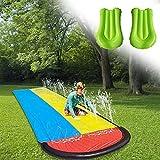 JXAA Toboganes de Agua para césped para niños y Adultos, carriles de for Carreras Gigantes de jardín y Piscina, toboganes de Agua de 15.7 pies al Aire Libre con Almohadilla de Choque
