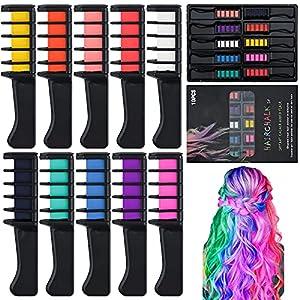 Tizas para el pelo, 10 Colores Tiza de Pelo Temporal Peine de tinte para el cabello Tizas de Color Lavables Tinte para Cabello para niñas, cumpleaños, cosplay, fiesta de Halloween, regalo (Comb)