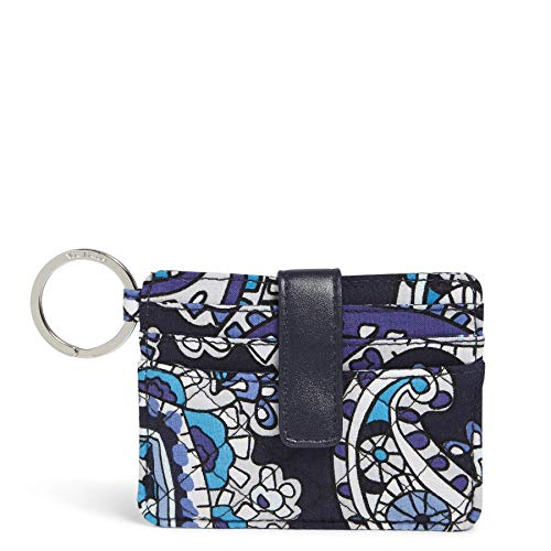 Vera Bradley Women's Signature Cotton In a Snap Card Case Wallet, Deep Night Paisley