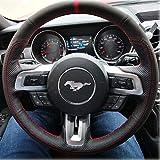 Loncky Black Genuine Leather Auto Custom Steering Wheel Cover for...