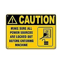 注意マシンに入る前に電源を切断してください 金属板ブリキ看板警告サイン注意サイン表示パネル情報サイン金属安全サイン