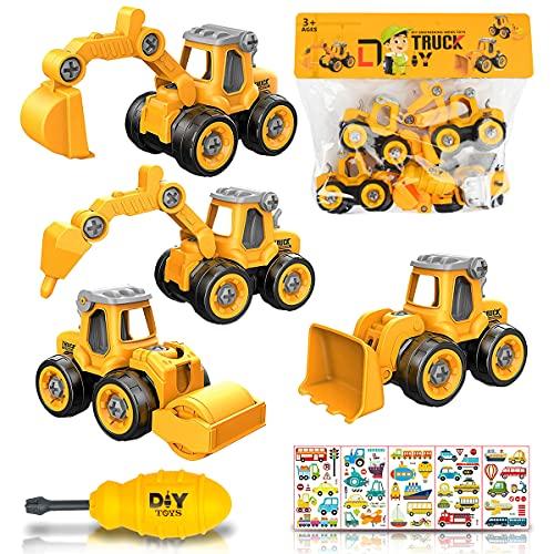 Tractores de Juguete excavadora juguete Ensamblarde Excavadora Tractor Construcciones Juguete Camiones 4 Piezas Grandes Educativos Regalos para Niño 3 4 5 6 Años Con 5 pegatinas