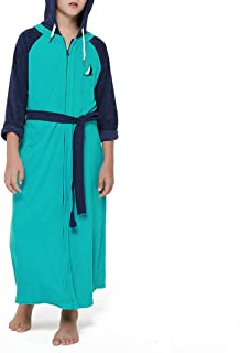 Abstract Bath Robe Towel Hooded Terrycloth - Lightweight Zipper Terry 100% Cotton Robe Teal