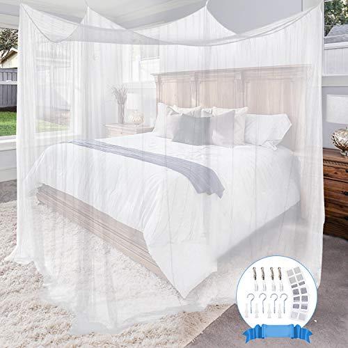 Gvoo Mosquitera Cama,Mosquitero Cuadrados con 4 Puertas para Interior y Exterior,Jardín,Viaje,Camping,Color Blanco,190 * 210 * 240cm