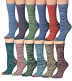 Tipi Toe Women's Plus Size 12 Pairs Colorful Patterned Crew Socks PWC26-AB