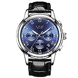LIGE Montre Homme Quartz Analogique étanche Horloge Classique Bracelet en Cuir Noir 9866H …