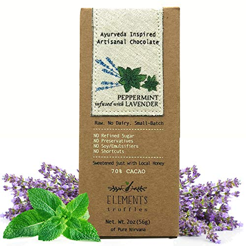 Elements Truffles Peppermint Bar with Lavender Infusion - Dairy Free Chocolate Bar - Paleo, Gluten Free, Non-GMO, Raw & Organic Chocolate Bar - Ayurveda Inspired Healthy Chocolate Bar - One Pack